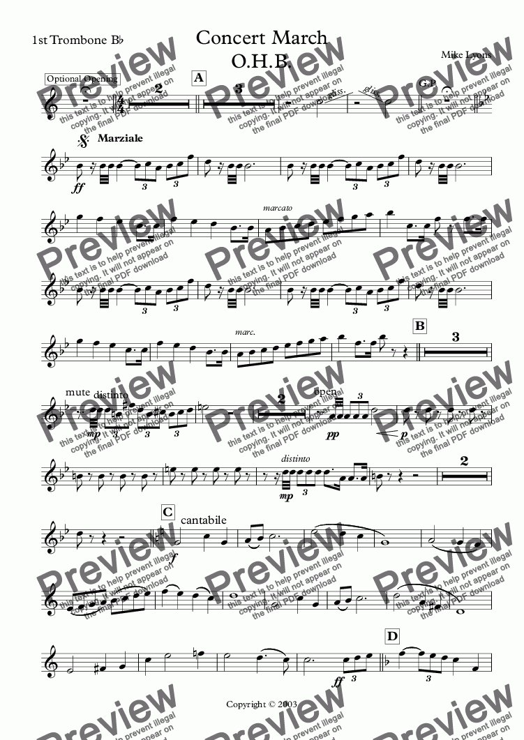 page one of the 1st Trombone B^b part from Brass Band - Concert March - O. H. B.