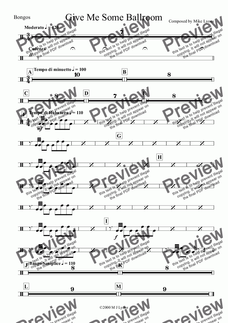page one of the Bongos part from Brass Band - Cornet Solo - Give Me Some Ballroom