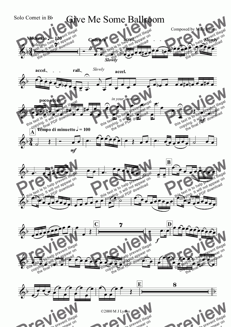 page one of the Solo Cornet in B^b part from Brass Band - Cornet Solo - Give Me Some Ballroom