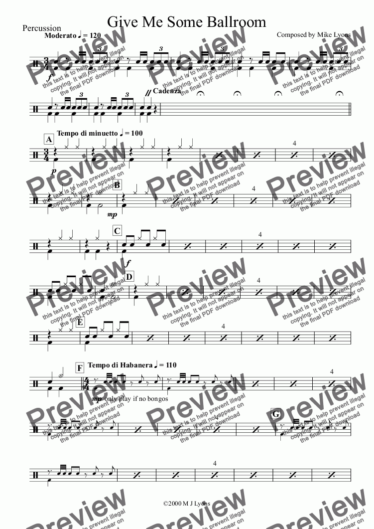 page one of the Percussion part from Brass Band - Cornet Solo - Give Me Some Ballroom