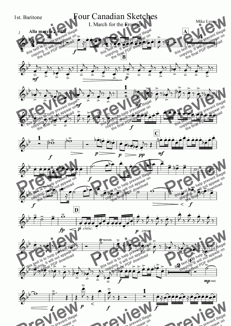 page one of the 1st. Baritone part from Brass Band - Four Canadian Sketches