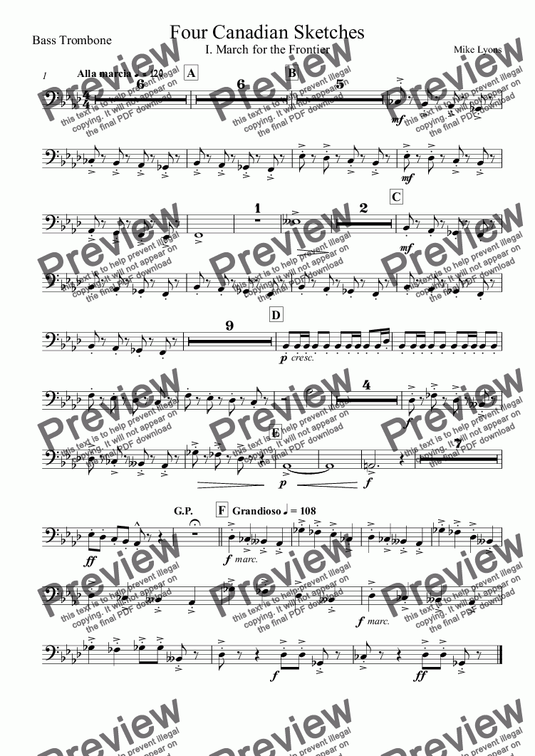 page one of the Bass Trombone part from Brass Band - Four Canadian Sketches
