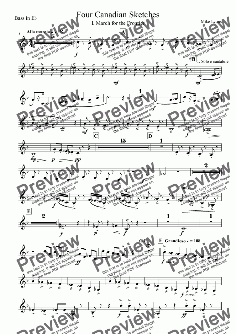 page one of the Bass in E^b part from Brass Band - Four Canadian Sketches