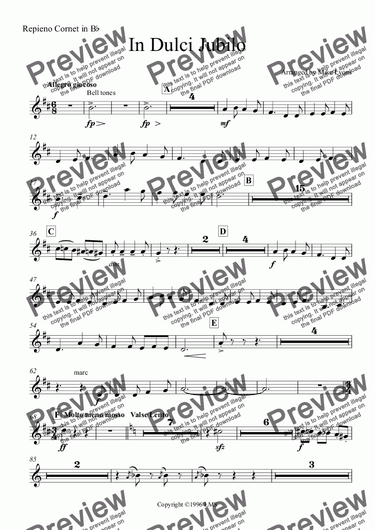 page one of the Repieno Cornet in B^b part from Brass Band - In Dulci Jubilo