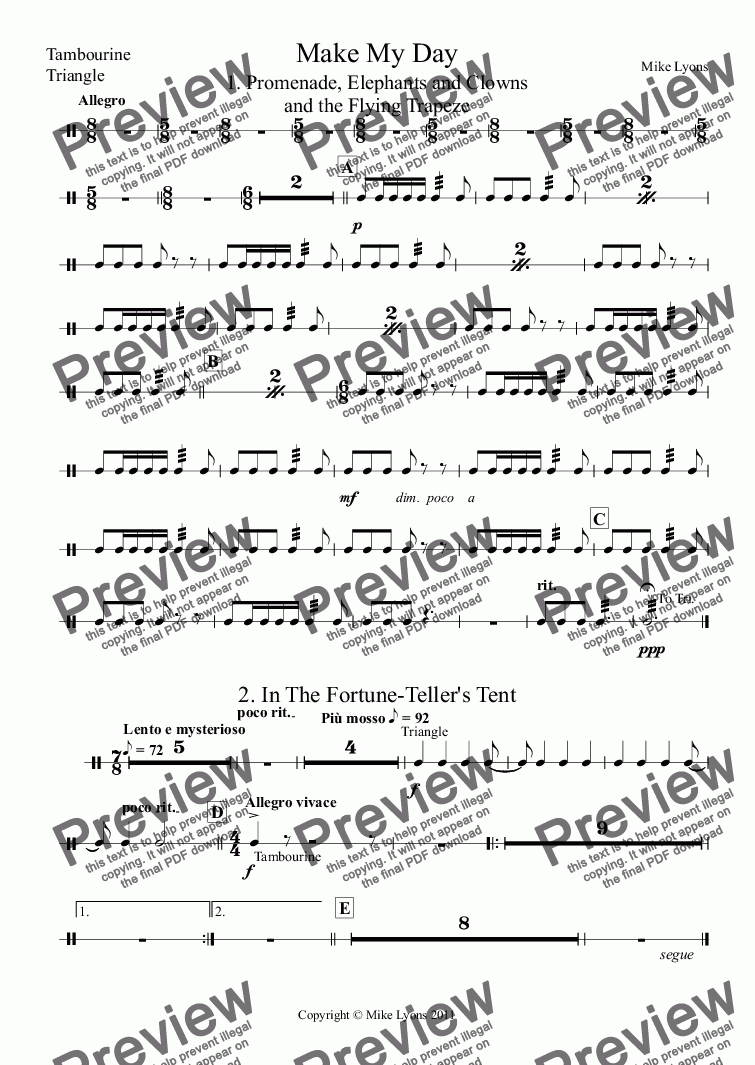 page one of the Tambourine, Triangle part from Brass Band - Make My Day