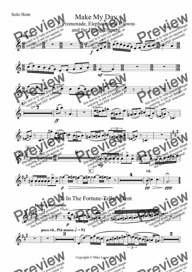 page one of the Solo Horn part from Brass Band - Make My Day