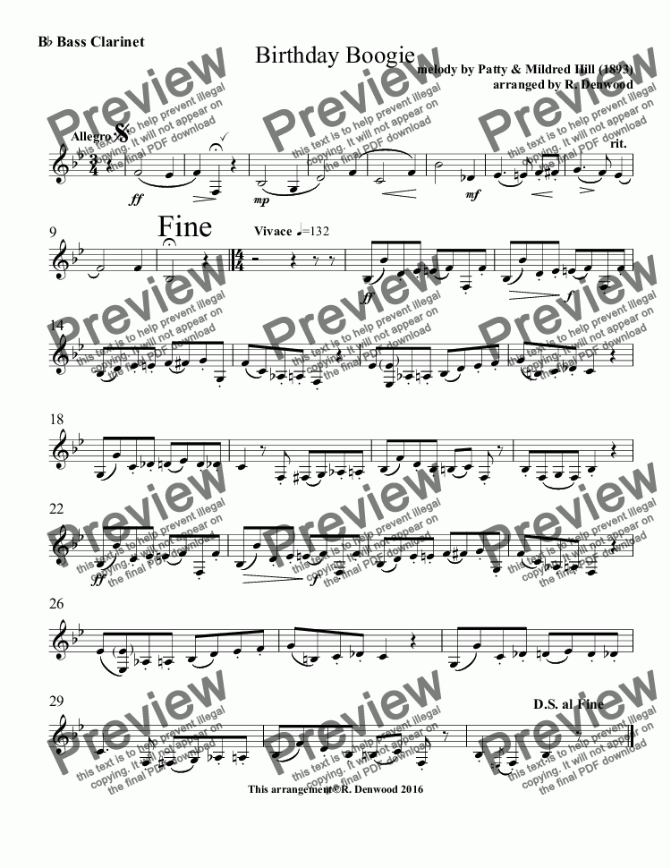 page one of the B^b Bass Clarinet part from Hill - Birthday Boogie for clarinet choir