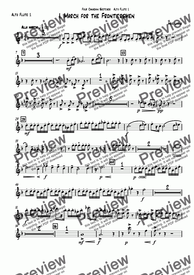 page one of the Alto Flute 1 part from Wind Octet - Four Canadian Sketches (8 part flute choir)
