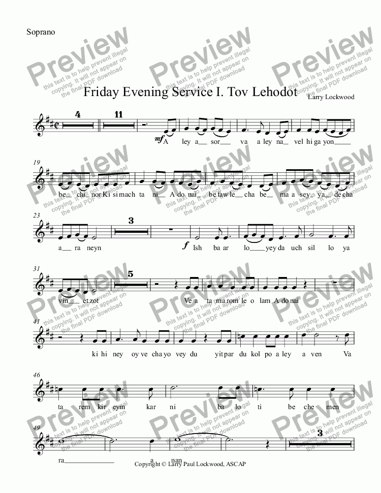 page one of the Soprano part from Friday Evening Service 03 Tov Lehodot