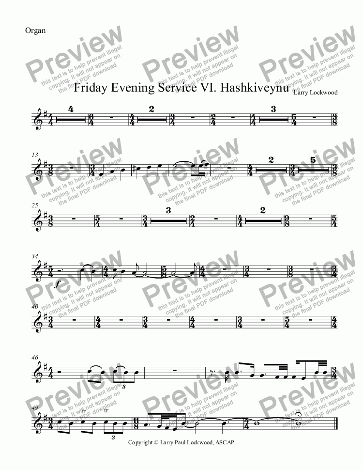 page one of the Organ part from Friday Evening Service 07 Hashkiveynu