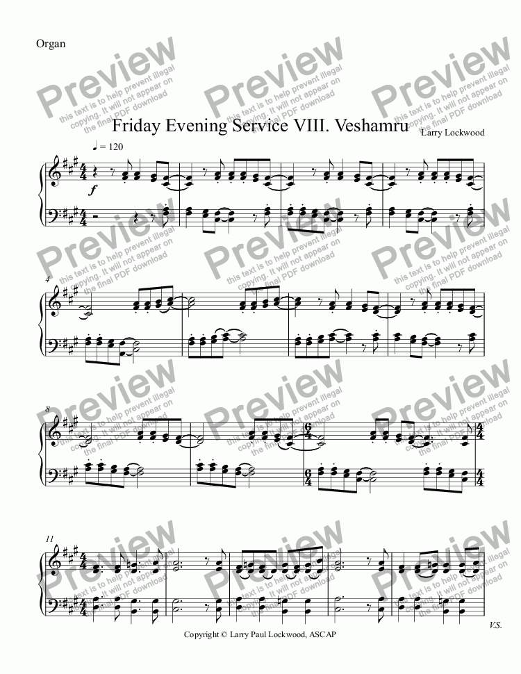 page one of the Organ part from Friday Evening Service 08 Veshamru