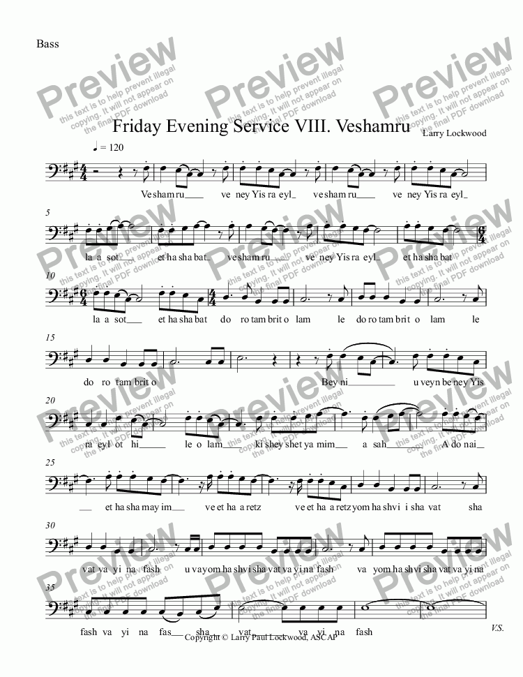 page one of the Bass part from Friday Evening Service 08 Veshamru