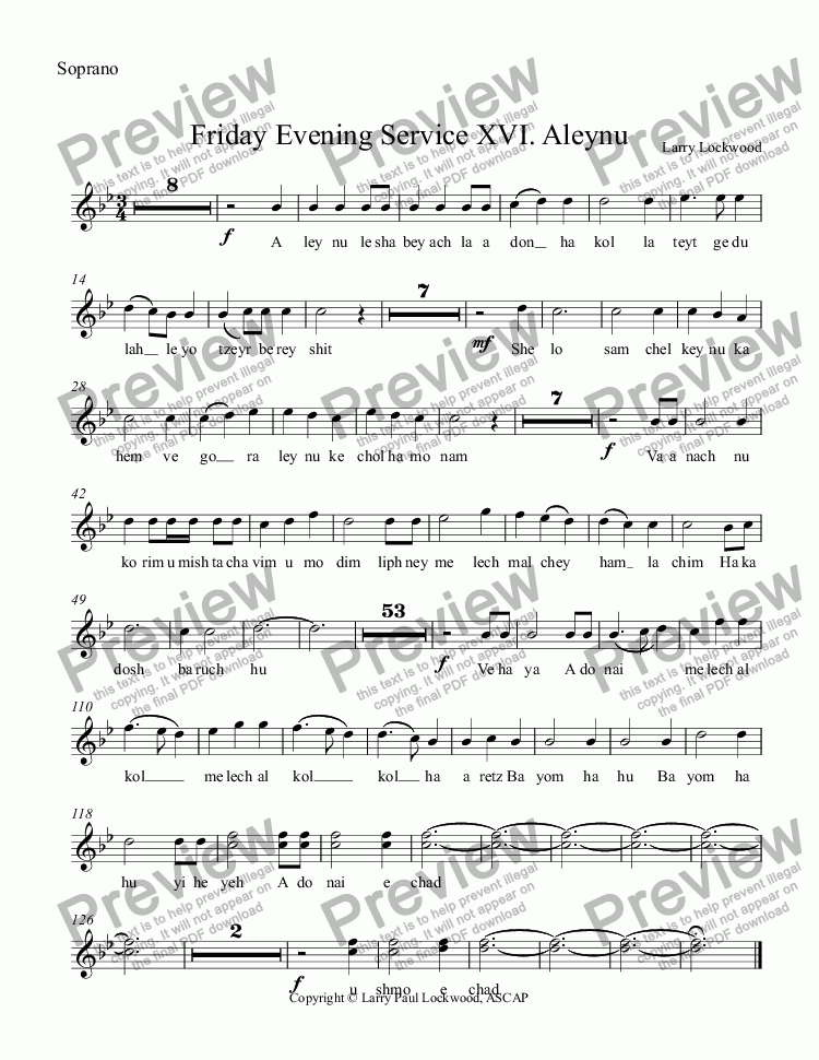 page one of the Soprano part from Friday Evening Service 16 Aleynu