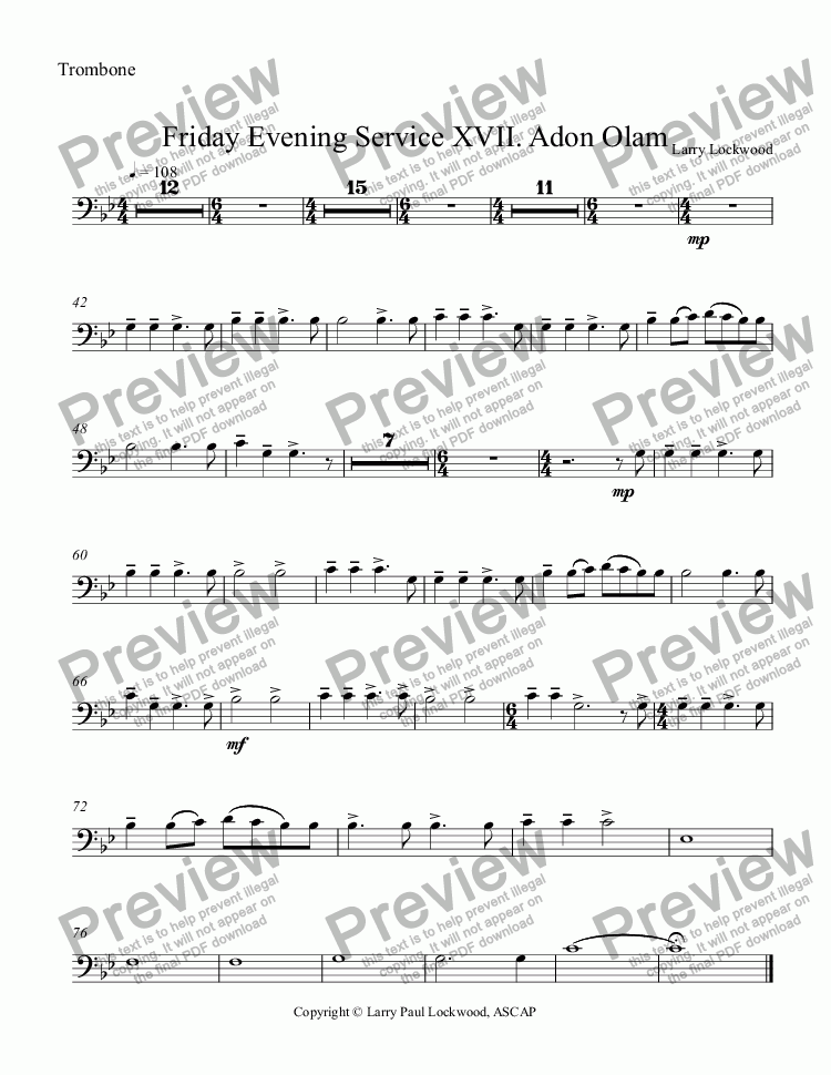 page one of the Trombone part from Friday Evening Service 17 Adon Olam