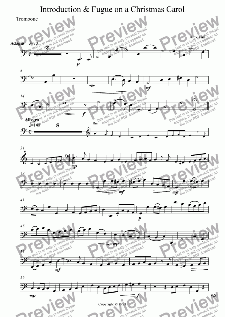 page one of the Trombone part from Introduction & Fugue on a Christmas Carol