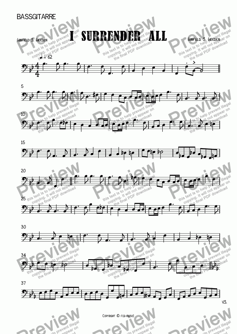 page one of the Bass-Gitarre part from I Surrender All