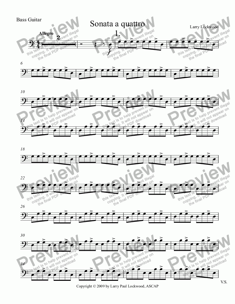 page one of the Bass Guitar part from Sonata a quattro
