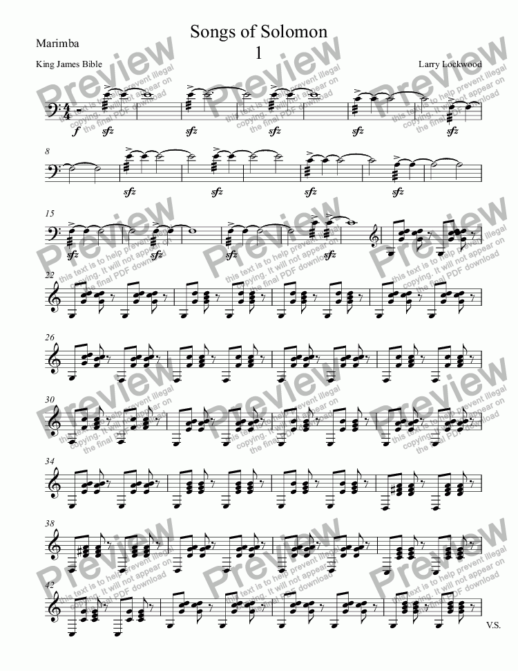 page one of the Marimba part from Songs of Solomon orig version for voice, keybd, 2 marimbas