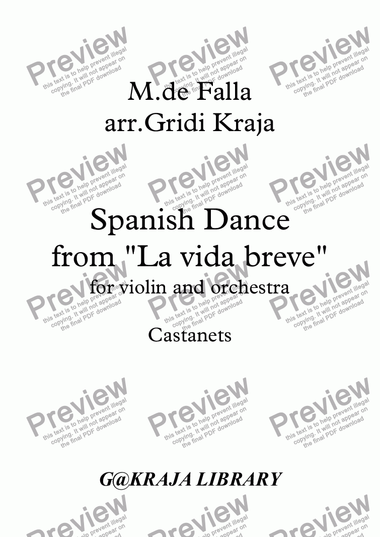 page one of the Castanets part from De Fallla Spanish Danse  (from LA VIDA BREVE) for violin solo and orchestra