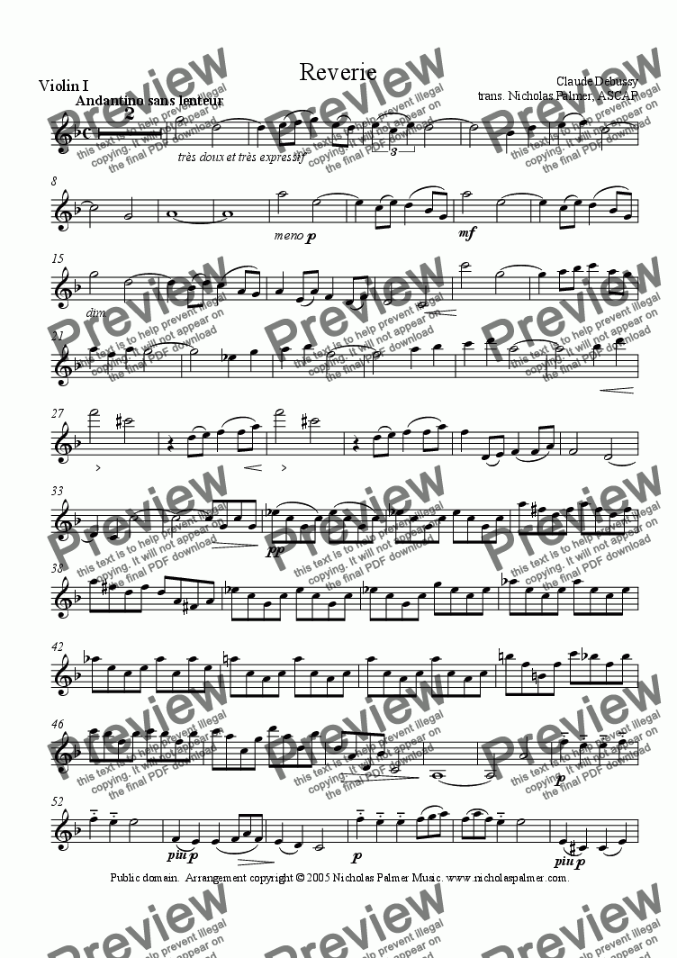 page one of the violin 1 part from Reverie (String Quartet)