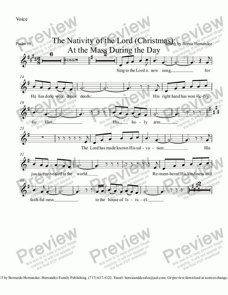 page one of the Voice part from Responsorial Psalm - Christmas (All Verses)