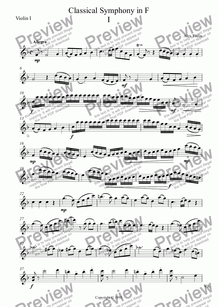 page one of the Violin I part from Classical Symphony in F