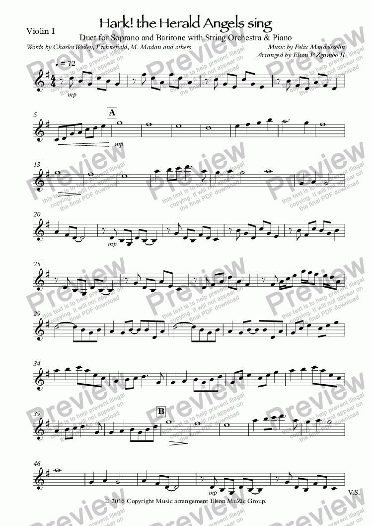 page one of the Violin I part from Hark! the Herald Angels sing