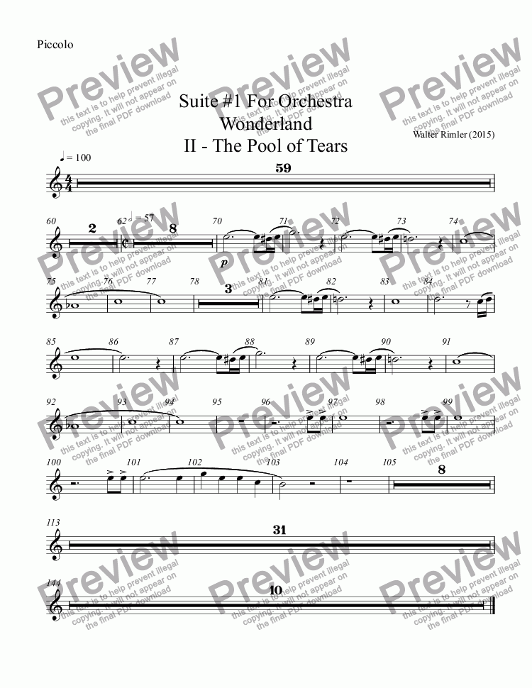 page one of the Piccolo part from Suite #1 For Orchestra Wonderland II - The Pool of Tears