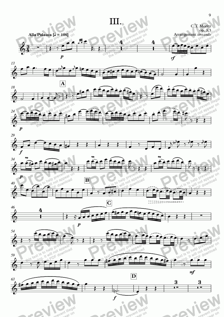 page one of the Flöte part from Moritz, Klaviertrio op. 3, daraus: III. Alla Polacca