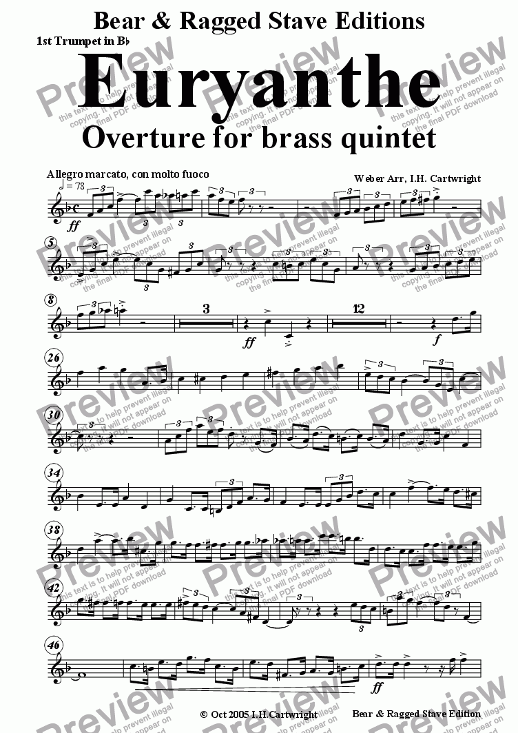 page one of the 1st Trumpet in  Bb part from Euryanthe Overture for brass quintet