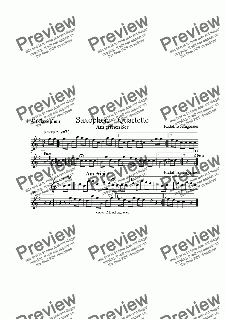 page one of the 1.Alt-Saxophon part from Am gr�nen  See / Am Pribitz  Saxophonquartett