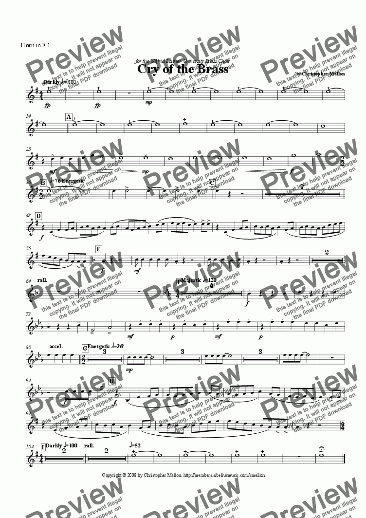 page one of the F Horn 1 part from Cry of the Brass
