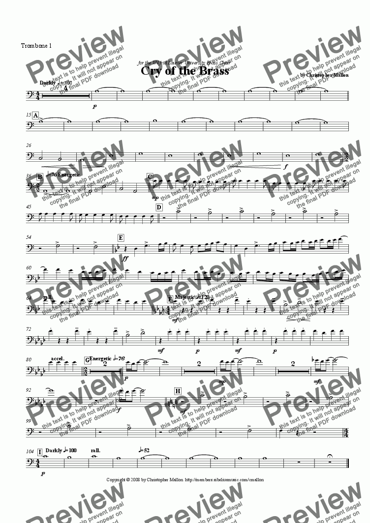 page one of the Trombone 1 part from Cry of the Brass