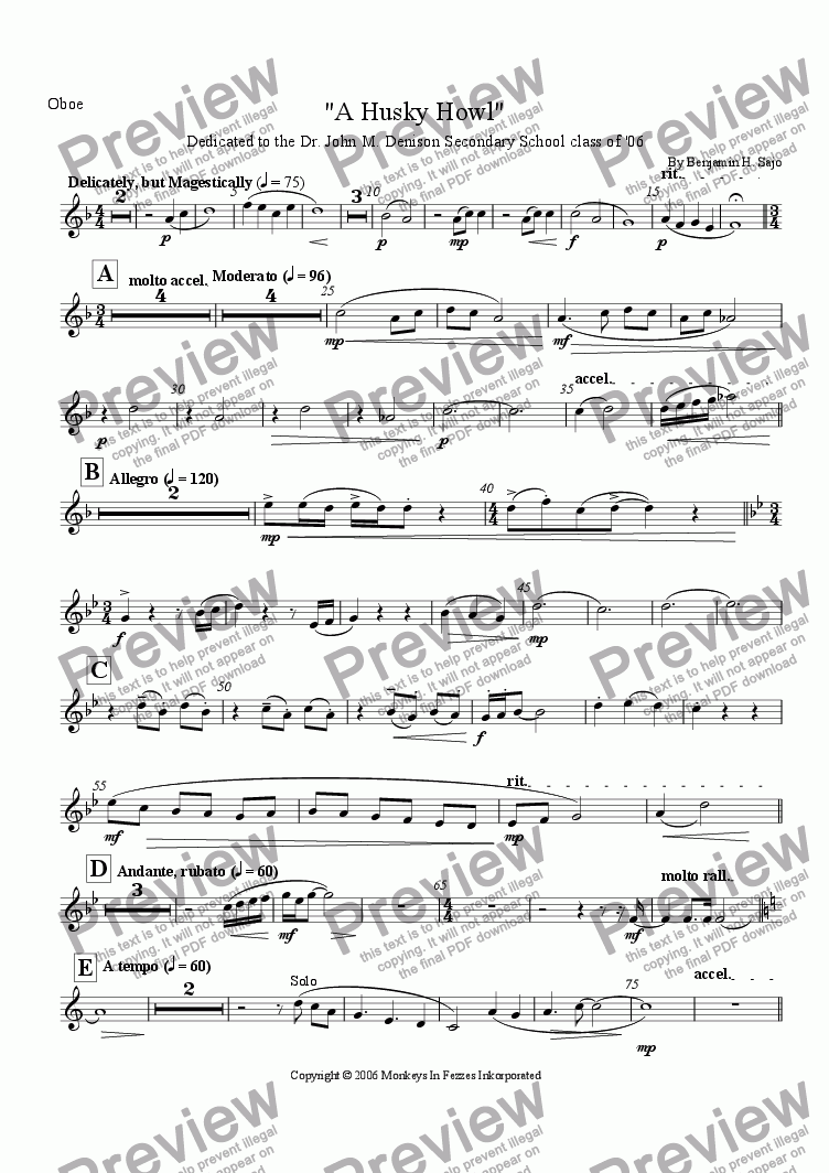 "page one of the Oboe part from ""A Husky Howl"""