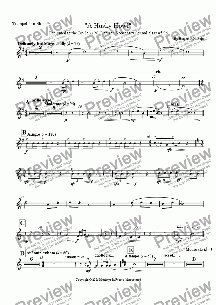 "page one of the Trumpet 2 part from ""A Husky Howl"""