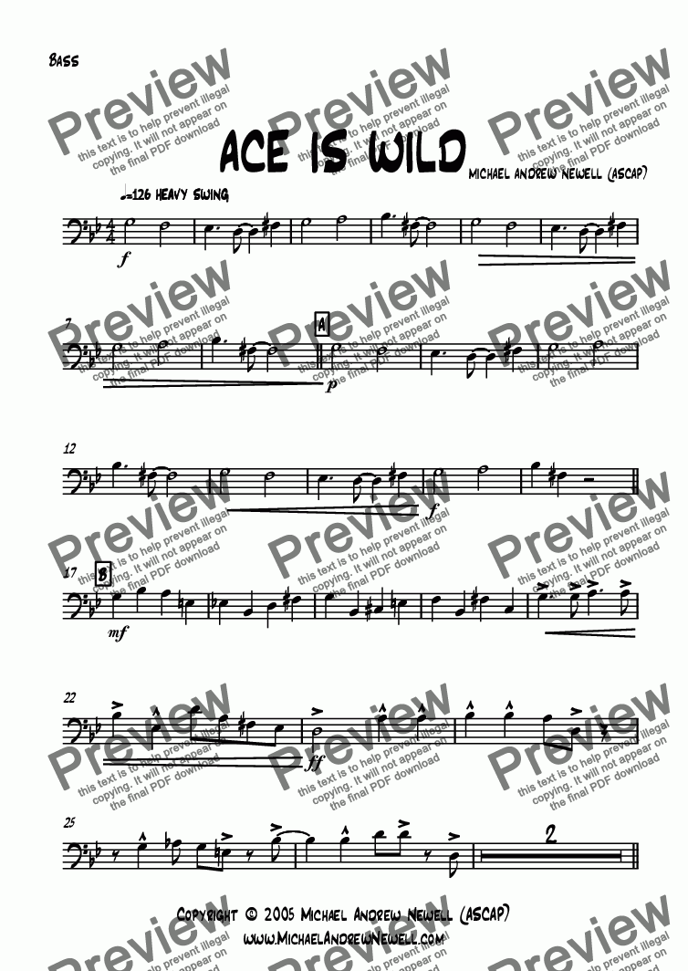 page one of the Bass part from Ace Is Wild
