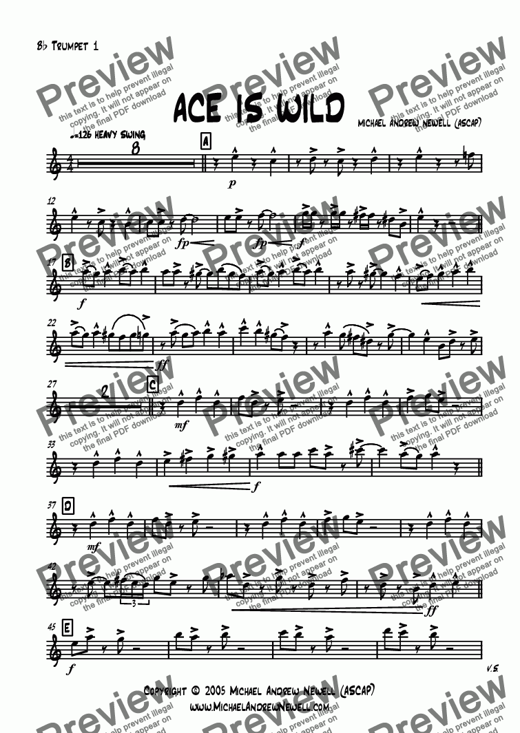 page one of the B^b Trumpet 1 part from Ace Is Wild