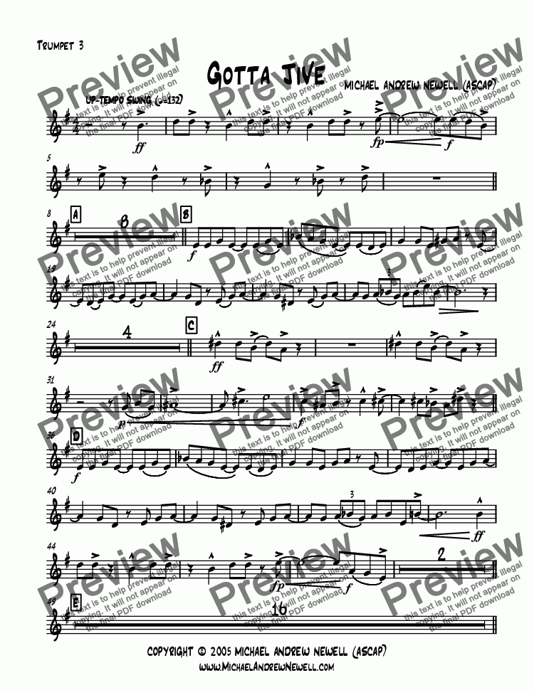 page one of the Trumpet 3 part from Gotta Jive