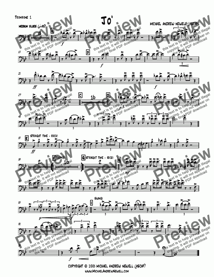 page one of the Trombone 1 part from Jo'