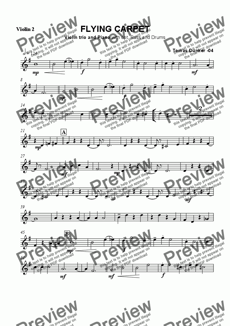page one of the Violin 2 part from Flying Carpet (3 Violin +Pno)