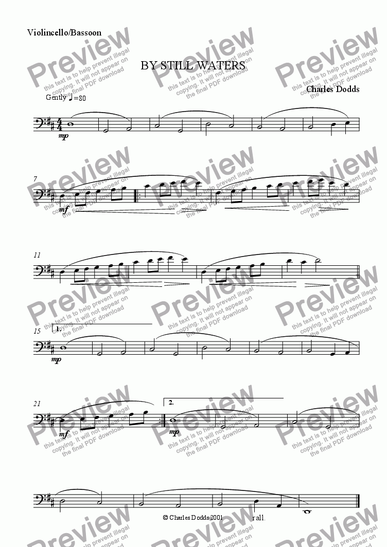 page one of the Cello/Bassoon part from By Still Waters