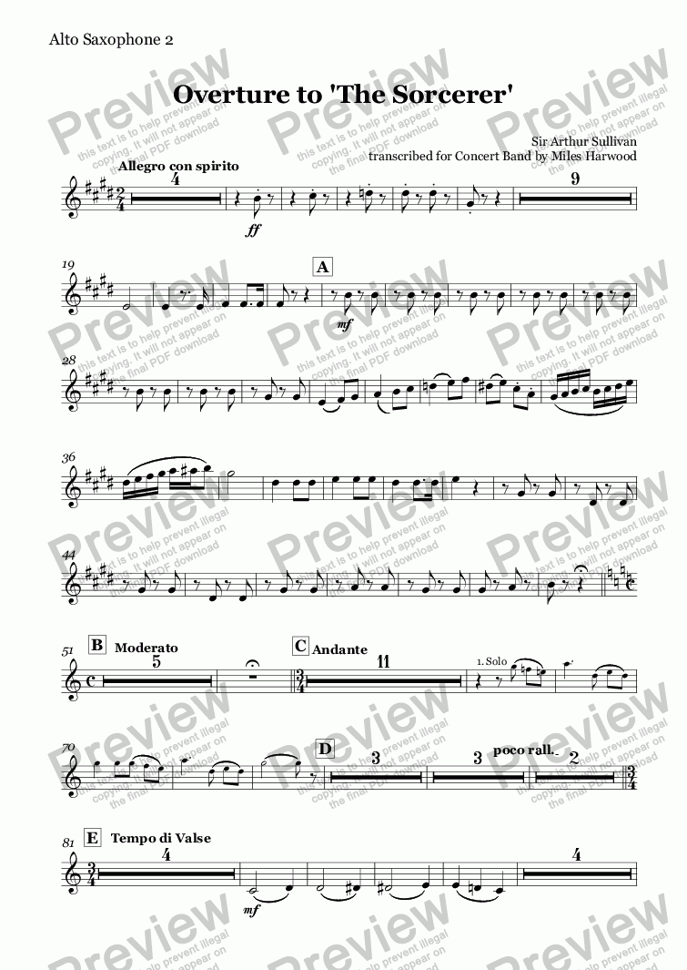 page one of the Alto Saxophones 1/2 part from Overture to 'The Sorcerer'