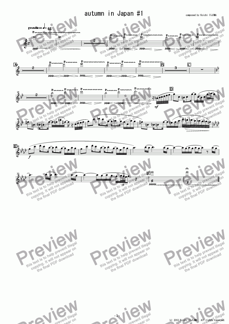 page one of the Violon 1 part from autumn in Japan #1