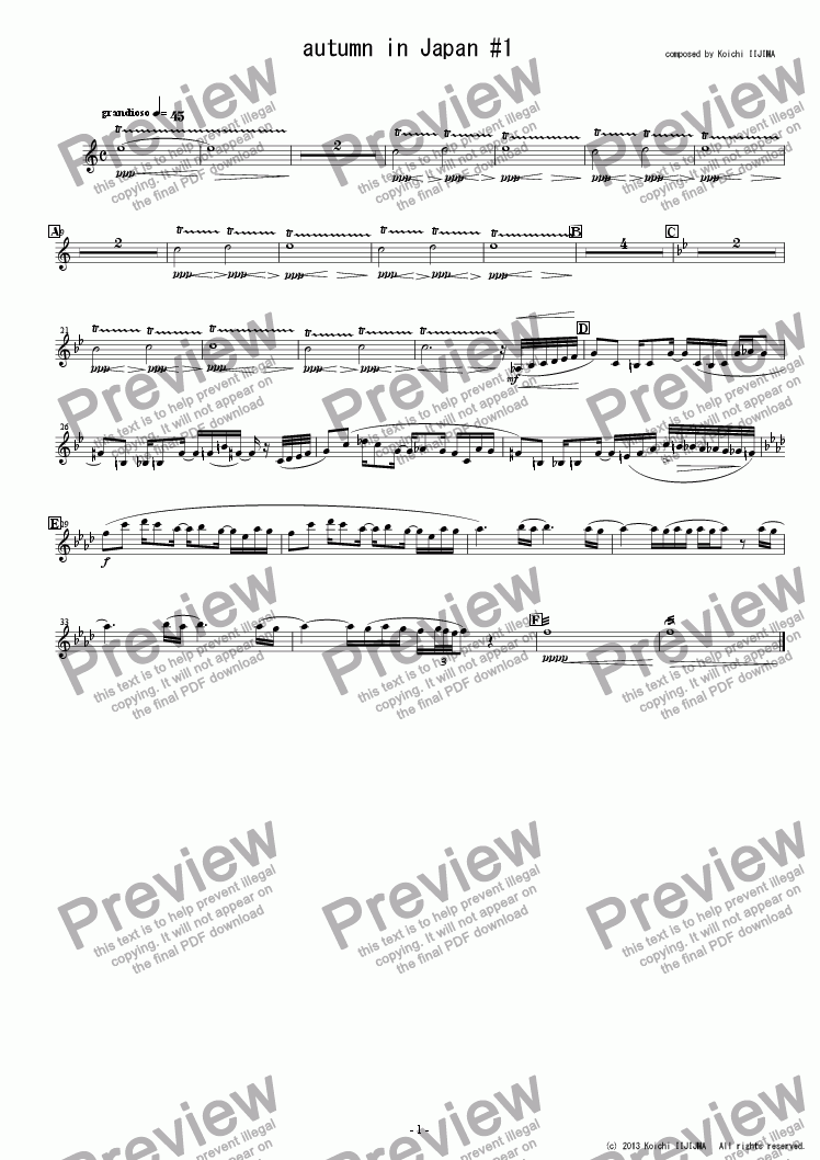 page one of the Violin 2 part from autumn in Japan #1