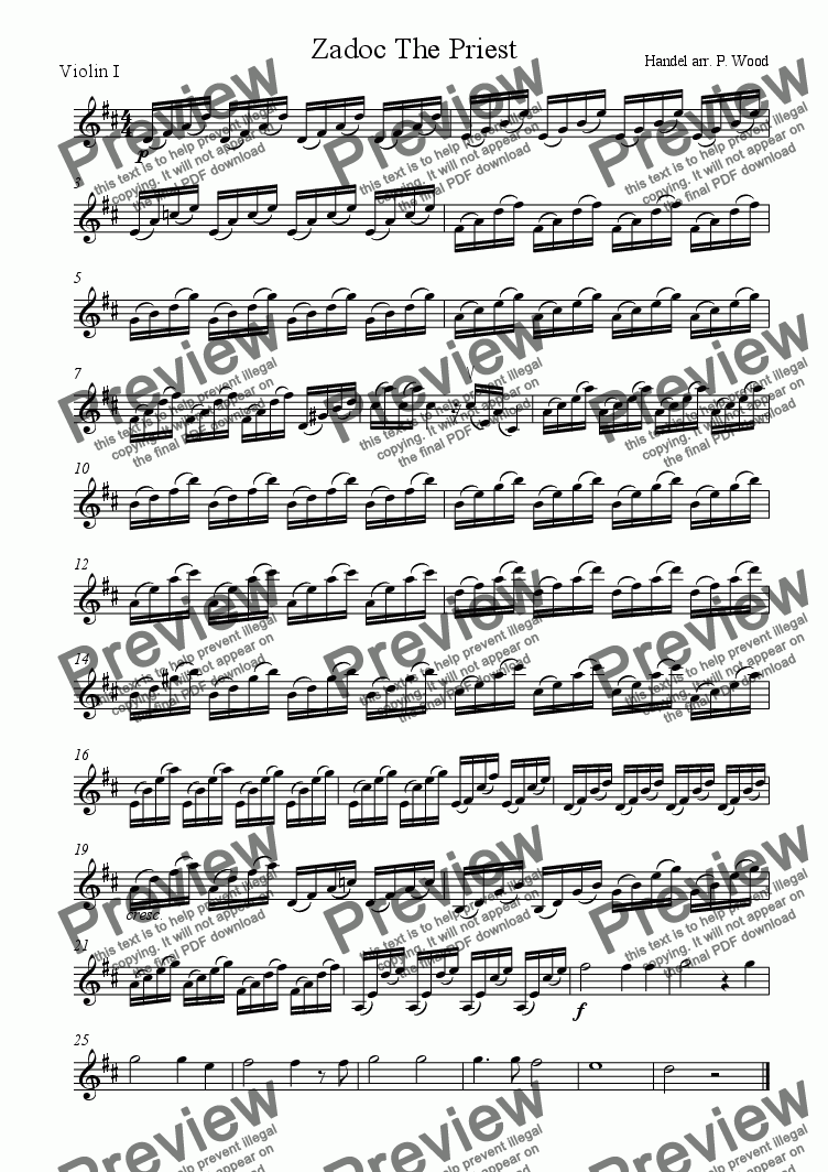 page one of the Violin 1 part from Zadok the Priest