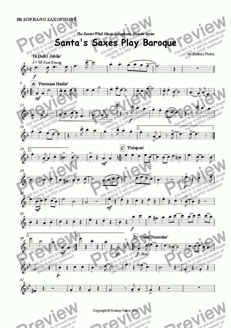 page one of the Soprano Sax part from Santa's Saxes Play Baroque