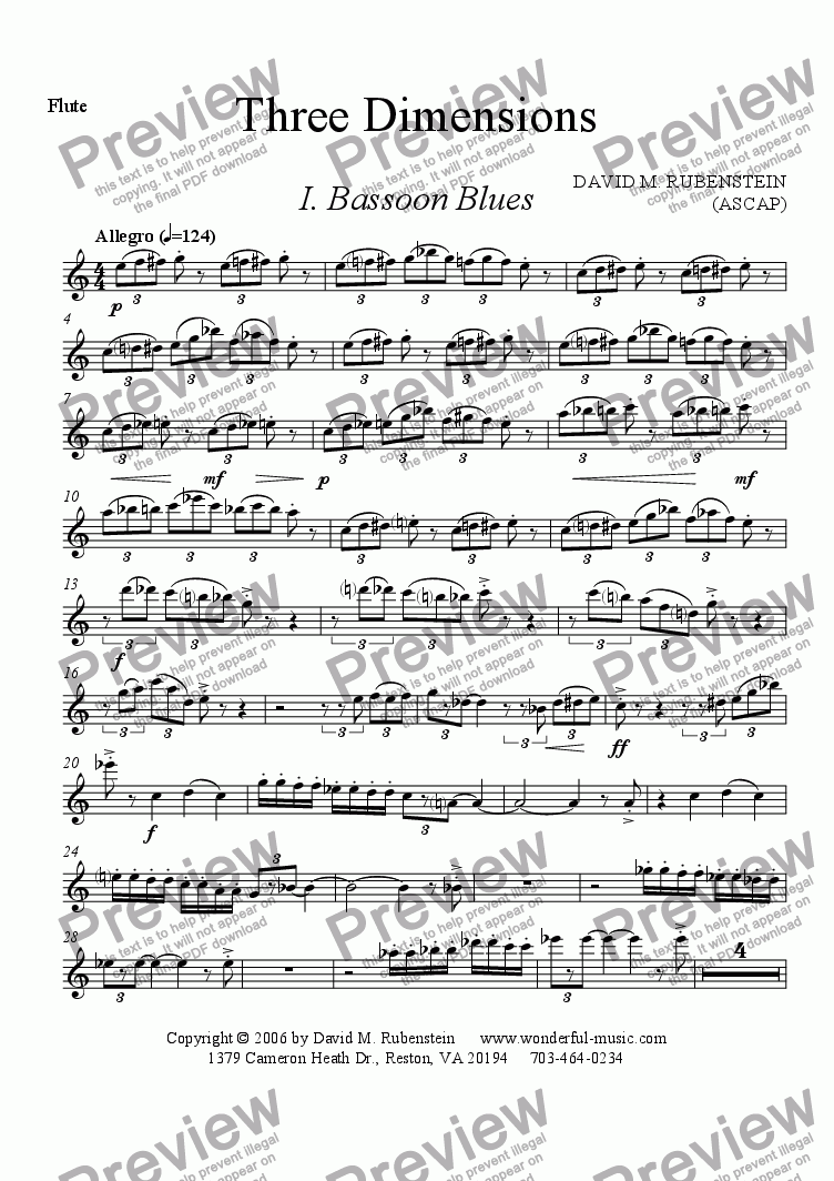 page one of the Flute part from Three Dimensions (woodwind trio)