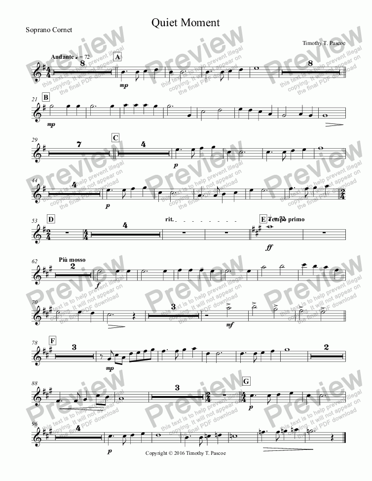 page one of the Soprano Cornet part from Quiet Moment (Original)