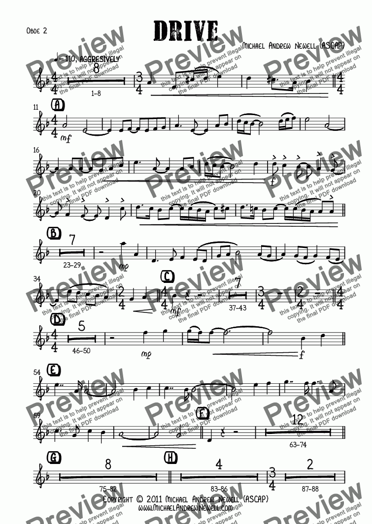 page one of the Oboe 2 part from Drive