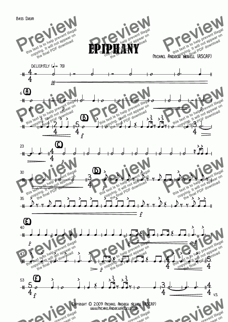 page one of the Bass Drum part from Epiphany